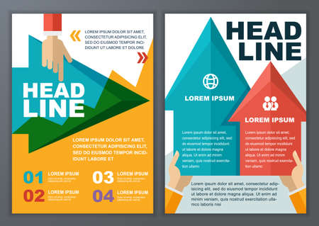 set template: Set of vector geometric template for brochure, flyer, poster, application and online service. Colorful polygonal and arrows vector background. Illustration