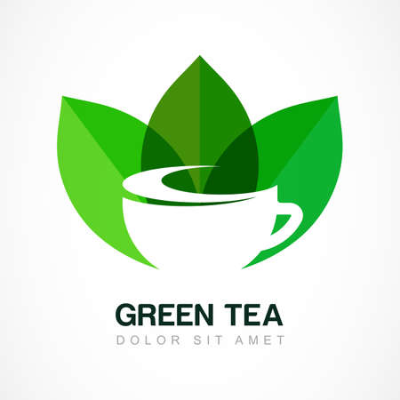 for tea: Abstract icon design template. Green tea symbol, natural herbal drink. Vector negative space icon. Concept for bar menu, tea shop, cafe, organic product.