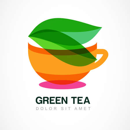 for tea: Abstract icon design template. Green tea symbol, natural herbal drink. Vector icon. Concept for bar menu, tea shop, cafe, organic product.