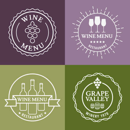 Set of wine signs, badges and labels. Vector line illustration. Concept for bar menu, party, alcohol drinks, celebration holidays, winery, restaurant.