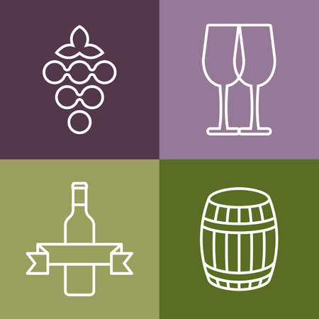 Set of line icons set. Wine bottle, grape and glass vector icon design. Concept for bar menu, party, alcohol drinks, celebration holidays, winery, restaurant. Vector