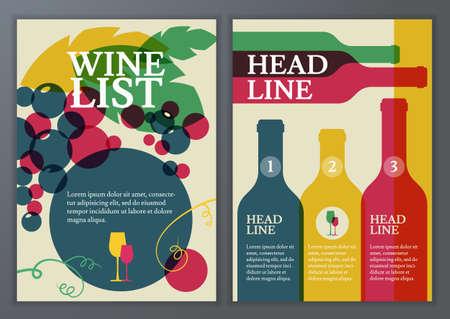 bodegas: Conjunto de vector de plantilla para el folleto, folleto, cartel, carta de vinos, men�. Colorida ilustraci�n de fondo plano de la botella, vidrio, rama de la uva con las hojas con lugar para el texto.