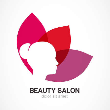 Womans face in flower leaves. Abstract design concept for beauty salon, massage, cosmetic and spa. Vector logo design template.