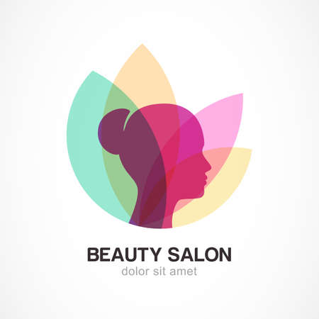 glamour: Womans face in flower leaves. Abstract design concept for beauty salon, massage, cosmetic and spa. Vector logo design template.