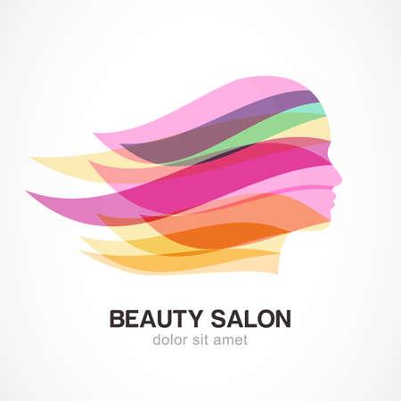 아름다움: 화려한 스트리밍 머리와 아름 다운 소녀 실루엣. 미용실, 마사지, 화장품 및 스파에 대 한 추상 디자인 개념. 벡터 로고 디자인 템플릿입니다. 일러스트