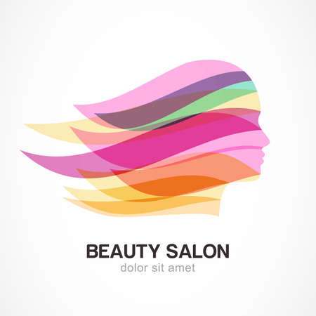 Beautiful girl silhouette with colorful streaming hair. Abstract design concept for beauty salon, massage, cosmetic and spa. Vector logo design template. Иллюстрация