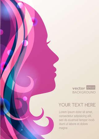 peluqueria y spa: Silueta de la muchacha hermosa con el pelo colorido, vector de fondo. Concepto de dise�o abstracto para el sal�n de belleza, spa, tienda de cosm�tica, folleto, folleto, cubierta, bandera, cartel.