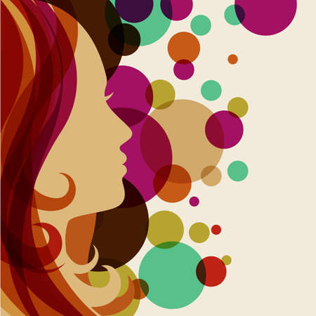 Beautiful girl silhouette with red hair, vector background. Abstract design concept for beauty salon, spa, cosmetic shop, flyer, brochure, cover, banner, placard.