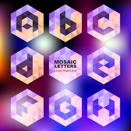 structured: Set of mosaic letter icons on blurred glowing background. Geometric logo design template. Corporate style, business technology abstract symbol.