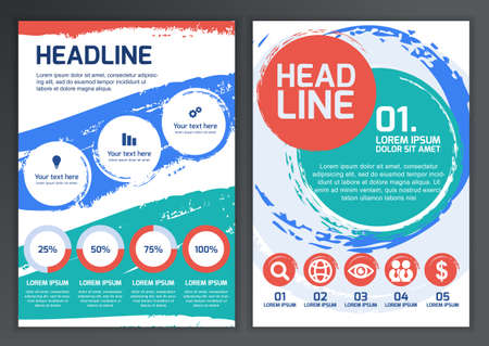 advertising template: Set of vector template for brochure, flyer, poster, application and online service.  Colorful circles, watercolor brush background.