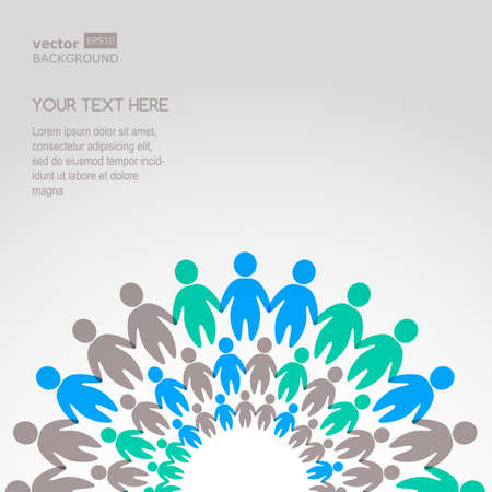 world group: Business background template with colorful people. Vector illustration. Concept for social network, team work, partnership, friends, business cooperation, connection, training.