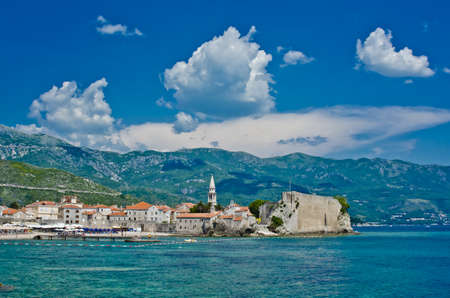Montenegro, Budva, old town view. Adriatic sea beach.