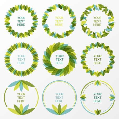 rimmed: Conjunto de hojas verdes y frescas marco de vectores. Fondo frontera natural con el lugar de texto. Concepto de la ecolog�a.