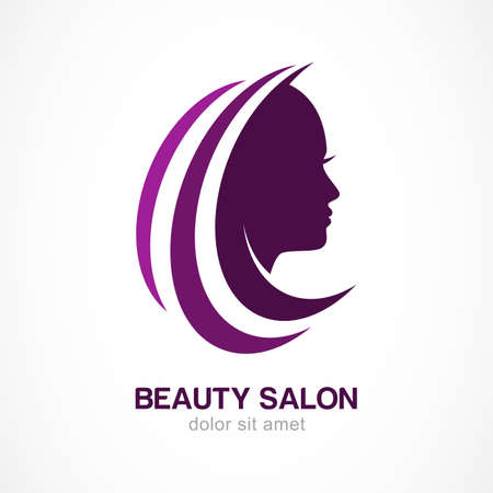 female hair: Vector logo design template. Womans face silhouette. Abstract design concept for beauty salon, massage, cosmetic and spa.