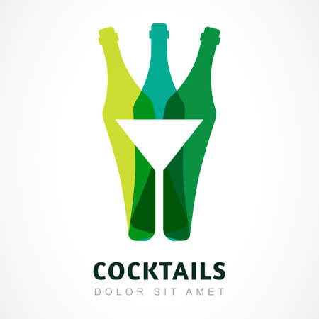 night bar: Abstract colorful logo design template. Bottle and martini glass vector icon. Concept for bar menu, party, alcohol drinks, celebration holidays. Illustration