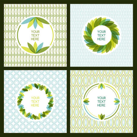 rimmed: set of fresh green leaves frame and seamless pattern. Nature border background with place for text. Ecology concept. Illustration