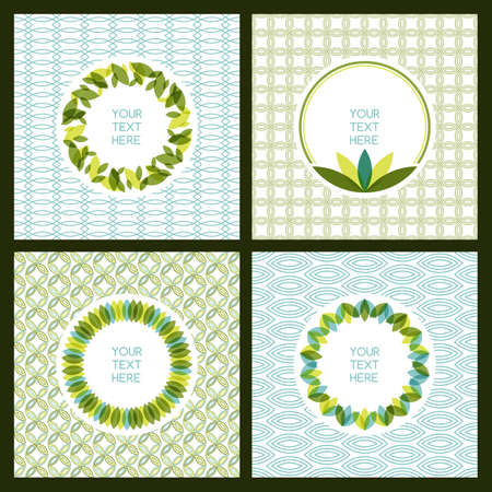 set of fresh green leaves frame and seamless pattern. Nature border background with place for text. Ecology concept. Illustration