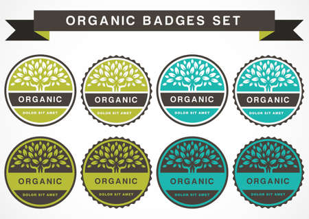 insignias: �rbol verde c�rculo, vector plantilla de dise�o. Conjunto de la insignia de productos org�nicos. Jard�n o icono de la ecolog�a. Vectores