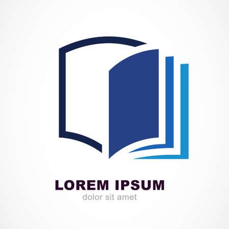 educação: Molde do projeto do vetor. Escudo e aberta símbolo de linha livro. Educação, conceito estudo.