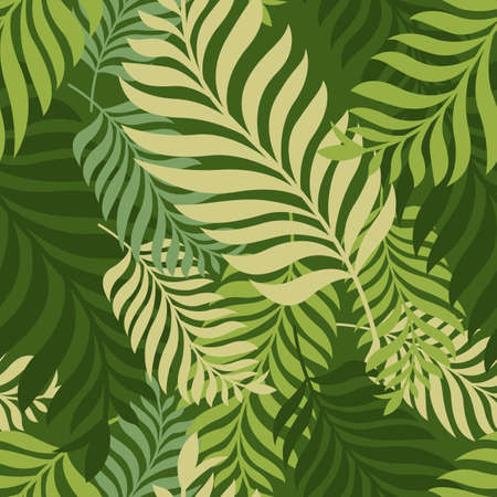 Green palm tree leaves. Vector seamless pattern. Nature organic background.