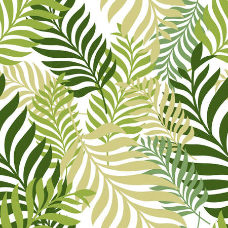 organic background: Green palm tree leaves. Vector seamless pattern. Nature organic background.