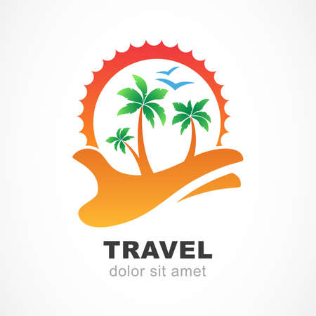 hand logo: Green palm tree and sun on hand. Abstract design concept for travel agency, tropical resort, beach hotel, spa. Summer vacation symbol. Vector logo design template.