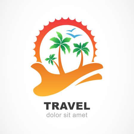 logo voyage: Vert palmier et soleil sur la main. Concept abstrait de conception pour agence de Voyage, station balnéaire tropicale, hôtel de plage, un spa. Été symbole de vacances. Vector logo modèle de conception.