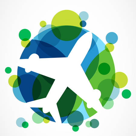 Flight airplane silhouette and colorful circle planet background with place for text. Travel around the world concept. Abstract vector logo design template. Vettoriali