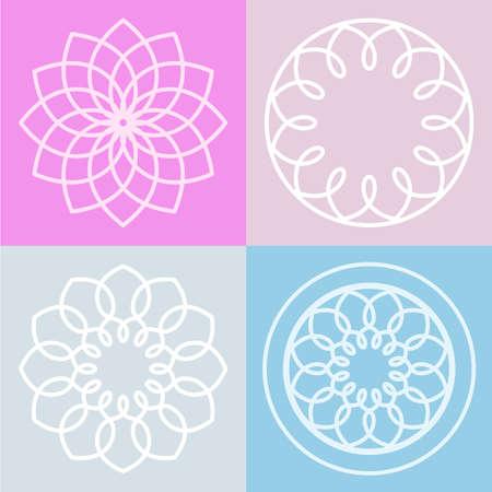 Set Lotusblüte Symbol und Hintergrund. Vector Zeilendarstellung. Abstrakt Logo-Design-Konzept. Standard-Bild - 38420463