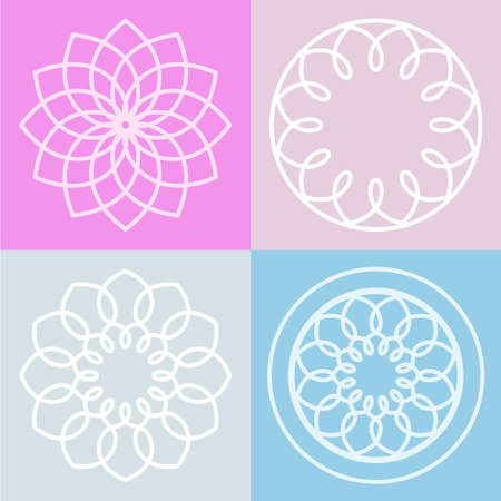 Lotus: Set of lotus flower symbol and background. Vector line illustration. Abstract logo design concept.