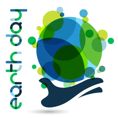 Abstract vector illustration background. Human hand holding green Earth. Concept for save earth day. Vettoriali