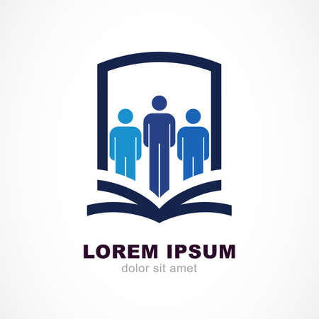 Vector logo design template. Shield, people silhouette and open book symbol. Education, study concept.