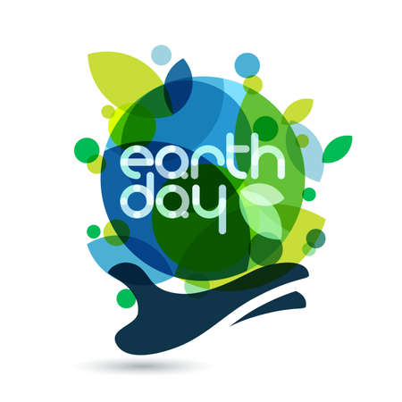 Abstract vector illustration background. Human hand holding green Earth. Concept for save earth day.  イラスト・ベクター素材