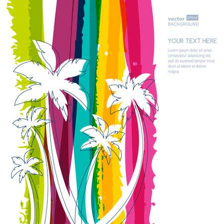 Palmboom silhouet en regenboogstrepen aquarel achtergrond met plaats voor tekst. Concept voor reisbureau, tropische resort, strand hotel, spa. Zomervakantie symbool. Stock Illustratie