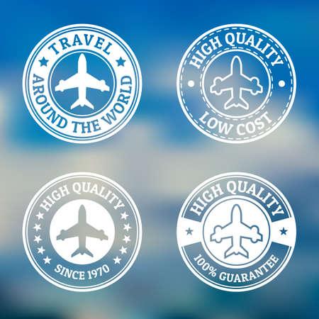 label circular: Set of vintage style flight label on blurred landscape background.  Illustration
