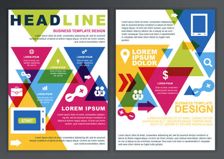 Set of vector design template for business, brochure, flyer, poster, application and online service. Colorful triangle and icons vector background. Vector