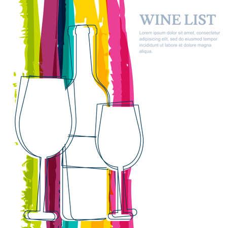 vino: Botella de vino, la silueta de cristal y rayas del arco iris de fondo de la acuarela con el lugar de texto. Fondo abstracto del vector. Concepto para la carta de vinos, menú, aviador, partido, bebidas alcohólicas.
