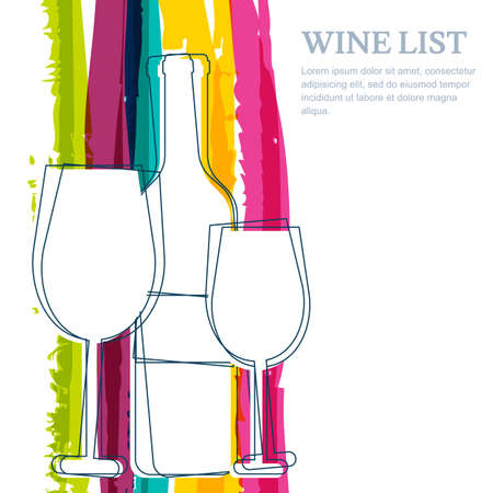 champagne glasses: Wine bottle, glass silhouette and rainbow stripes watercolor background with place for text. Abstract vector background. Concept for wine list, menu, flyer, party, alcohol drinks.