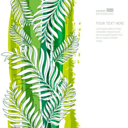 hojas parra: Hojas y franjas de árboles de palma verde de la acuarela de fondo con lugar para el texto. Vector fondo de verano.