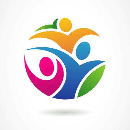 concept: Vector logo plantilla de dise�o. Gente feliz abstractas de colores en forma de c�rculo. Concepto de red social, el trabajo en equipo, asociaci�n, amigos, la cooperaci�n empresarial, que juegan los ni�os, fiesta de celebraci�n.