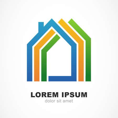case colorate: Astratte sagome colorate di case. Concetto di design per immobili, impresa edile. Vector icona logo del modello. Vettoriali