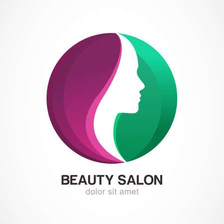 cosmeticos: Cara de la mujer en forma de círculo. Perfil de la muchacha hermosa, vector logo plantilla de diseño. Concepto de diseño abstracto para el salón de belleza, masajes, estética y spa.