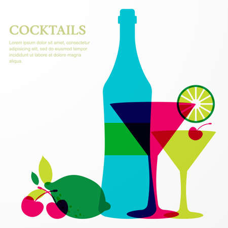 martini: Bottle and martini glass with lime, cherry fruits. Abstract vector background design template with place for text. Concept for bar menu, party, alcohol drinks, celebration holidays. Illustration