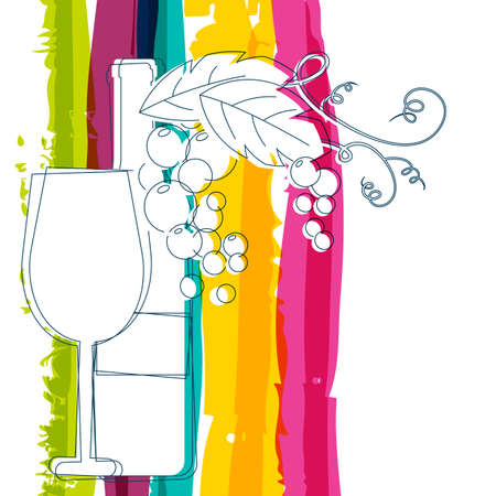 Wine bottle, glass, branch of grape with leaves and rainbow stripes watercolor background with place for text. Abstract vector background. Concept for wine list, menu, flyer, party, alcohol drinks. Vectores