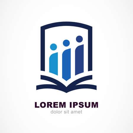 eğitim: Vektör logo tasarım şablonu. Kalkan, insanlar siluet ve açık kitap çizgi sembolü. Eğitim, çalışma kavramı.
