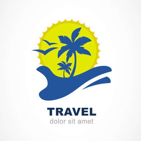 arbol pájaros: Siluetas abstractas de la palmera y el sol en la mano. Concepto para la agencia de viajes, centro turístico tropical, hotel de playa, spa. Símbolo de las vacaciones de verano. Vectores