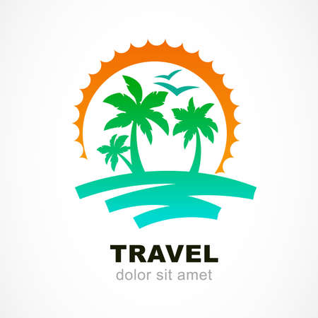 tropical sunset: Vector logo design template. Abstract sun and palm tree on seaside. Concept for travel agency, tropical resort, beach hotel, spa. Summer vacation symbol.