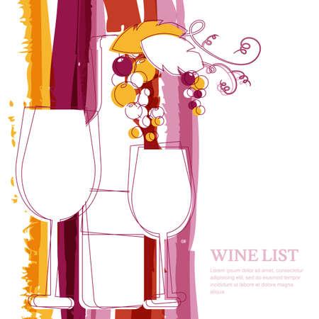 ristorante: Bottiglia di vino, di vetro, ramo di uva e Marsala strisce acquerello sfondo con il posto per il testo. Abstract illustrazione vettoriale sfondo. Concetto per carta dei vini, menu, volantino, partito, bevande alcoliche. Vettoriali