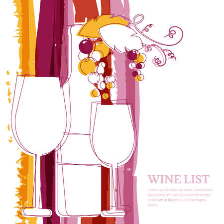 wine grape: Wine bottle, glass, branch of grape and marsala stripes watercolor background with place for text. Abstract vector illustration background. Concept for wine list, menu, flyer, party, alcohol drinks.