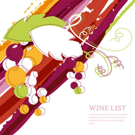 Branch of grape on marsala stripes watercolor background. Abstract vector design template with place for text. Concept for wine list, menu, cover, flyer, brochure, poster, party, alcohol drinks.